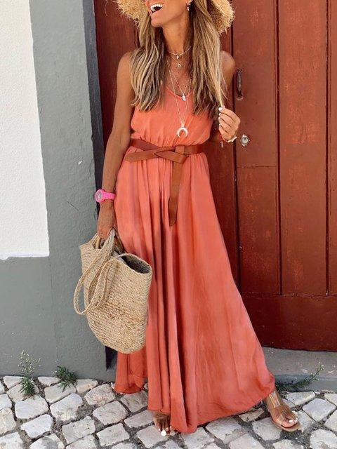 Casual Retro Holiday Strapless V-Neck Long Dress