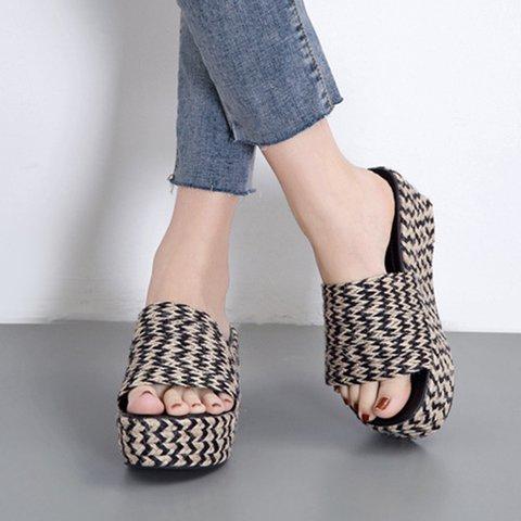 Women Slide Wedge Heel Summer Microfiber Leather Sandals