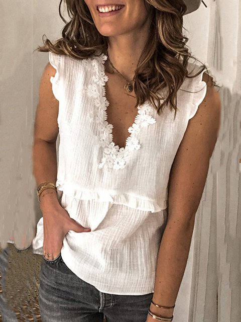 V Neck Paneled Sleeveless Cotton Tops