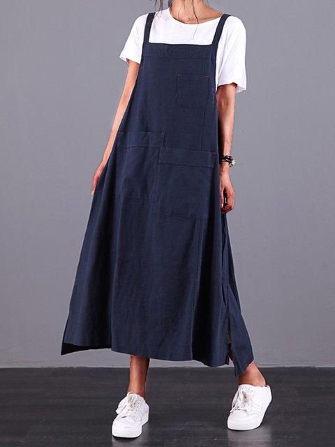 Navy Blue Sleeveless Plain Dresses