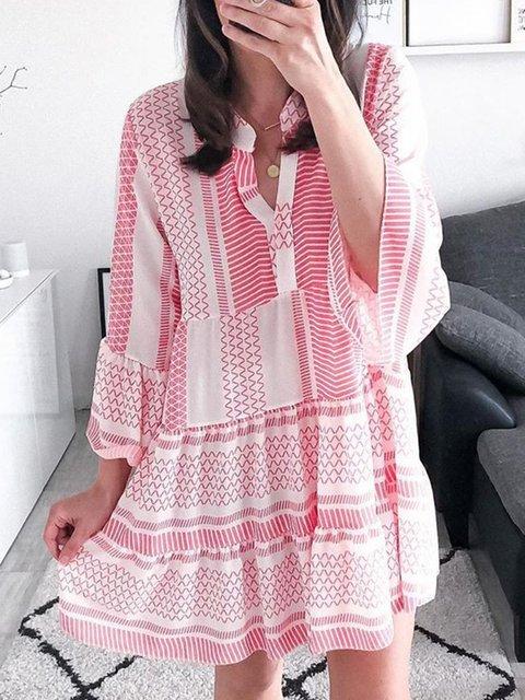 Women Kaftan V-Neck Paneled Summer Dresses