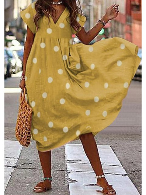 V Neck Women Dresses Casual Cotton-Blend Dresses