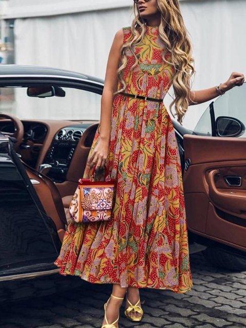 V Neck Red Women Dresses Casual Cotton-Blend Dresses