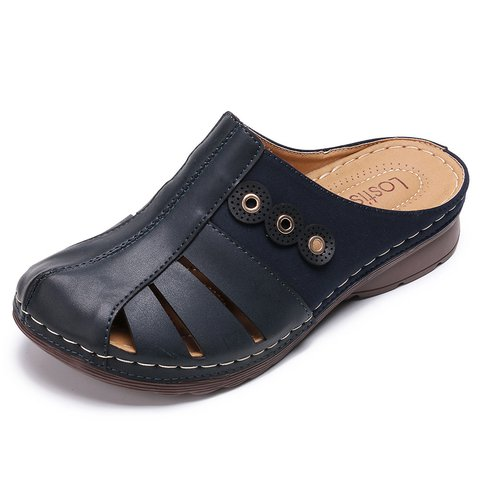 Artificial Leather Hollow-Out Loafers