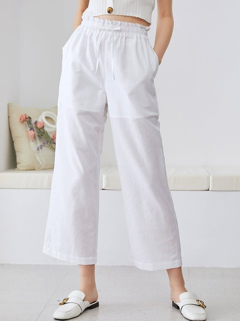 Soft Linen Solid Color Straight Pants