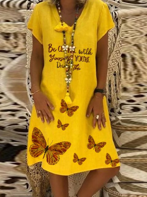 Yellow Printed V Neck Casual Cotton Dresses