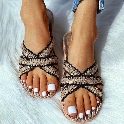 Bohemian Retro Style Linen Slippers