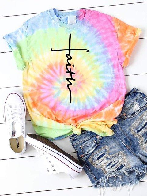 Faith Printed Tie-Dye T-shirt