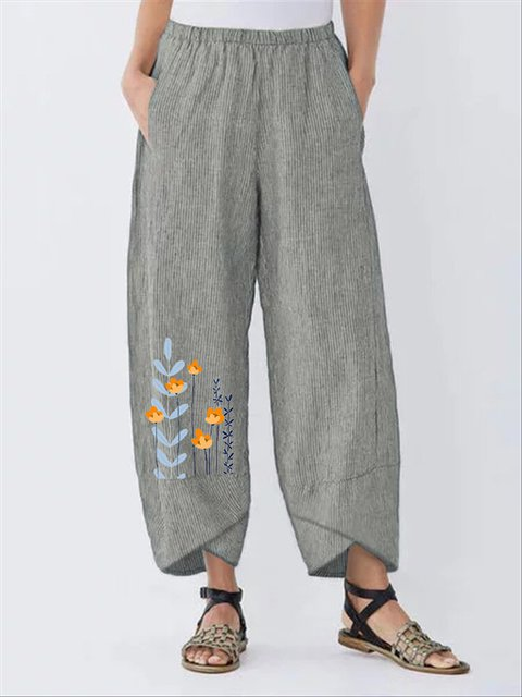 Gray Floral Printed Stripes Casual Shift Pants