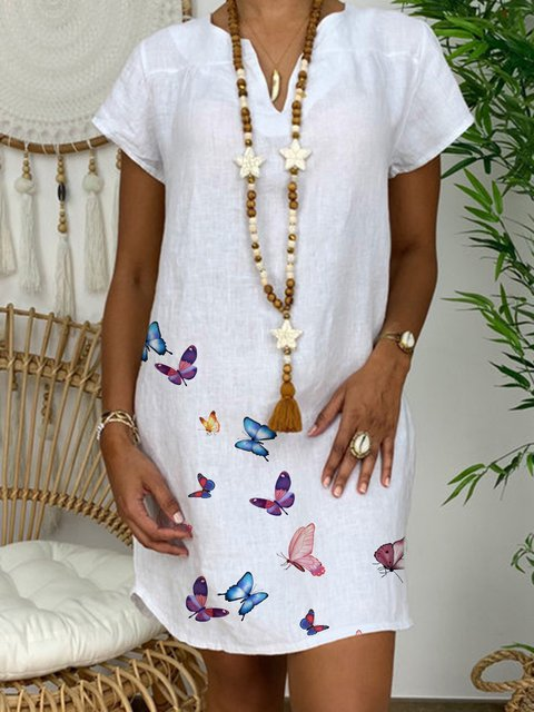 Butterfly Printed V-neck Casual Dress