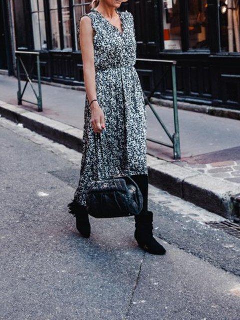 V Neck Black Women Dresses Casual Floral Dresses