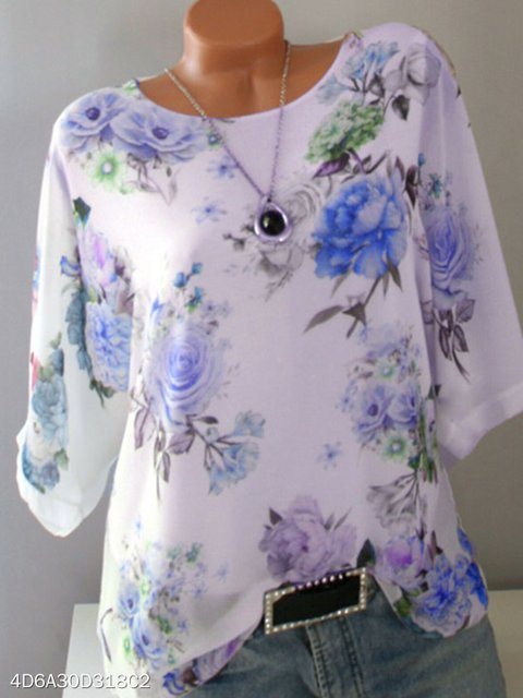 Floral Casual Shift Floral-Print Shirts & Tops