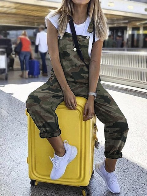 Camouflage Printed Casual Sleevekess Pockets Jumpsuits