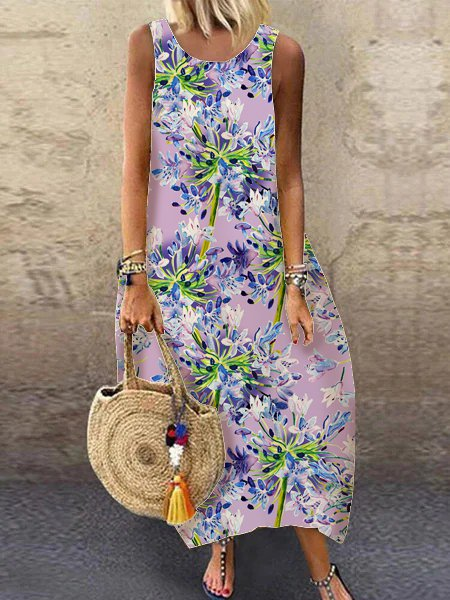 Floral ladies dress loose daily pocket dress