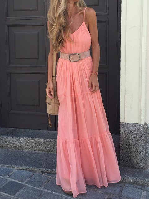 Summer Spaghetti Maxi Dress Women Solid Dresses