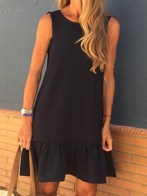 Summer Solid Mini Dress Sleeveless Dresses