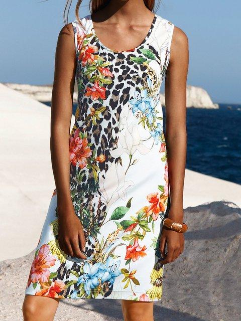 Crew Neck White Women Dresses Shift Leopard Dresses
