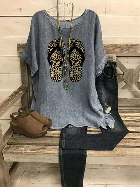 Gray Cotton-Blend Casual Shirts & Tops
