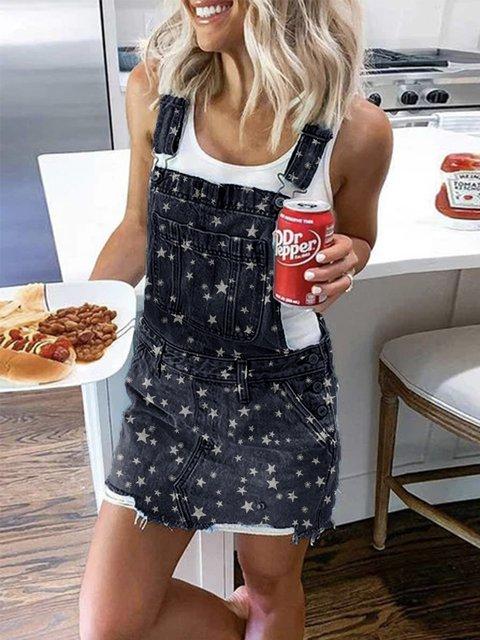 Black Geometric Casual Denim Spaghetti-Strap Dresses