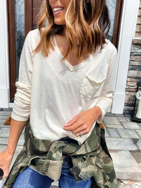 Casual Long Sleeve Pockets Shirts & Tops