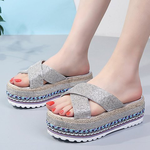 Rhinestone Slip-On Platform Open Toe Casual Slippers