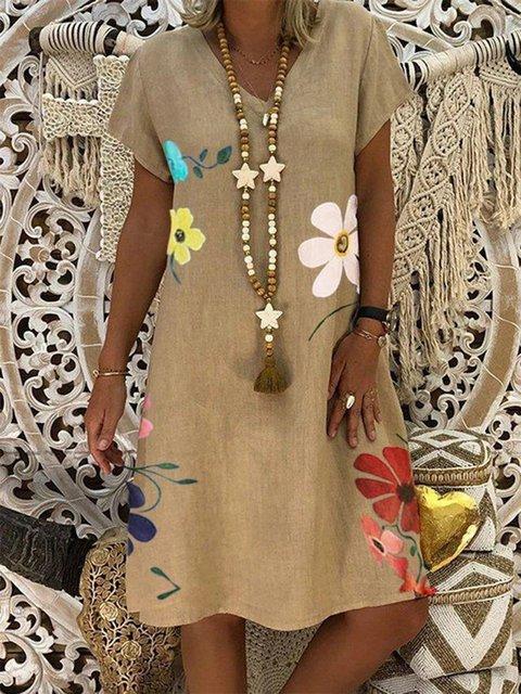 Khaki Holiday Daily Floral Casual A-Line V Neck Cotton-Blend Linen Dresses