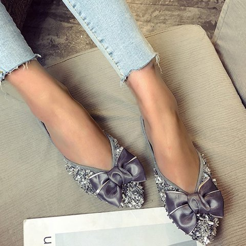 Low Heel Artificial Leather Slip-On Bowknot Flats
