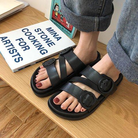Women Slide Home Wear Flat Heel Fall Pvc Slippers