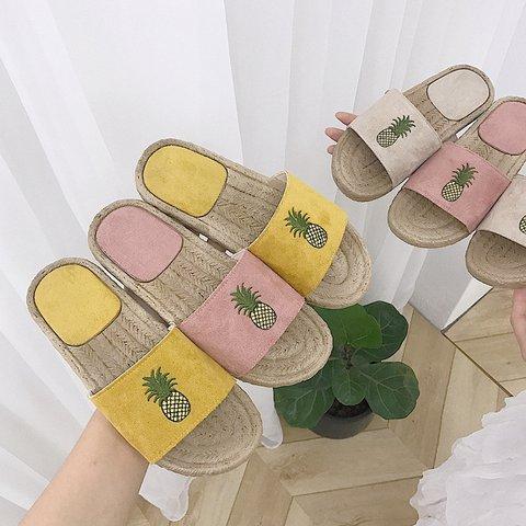 Women Pineapple Home Wear Casual Fall Flat Heel Slippers
