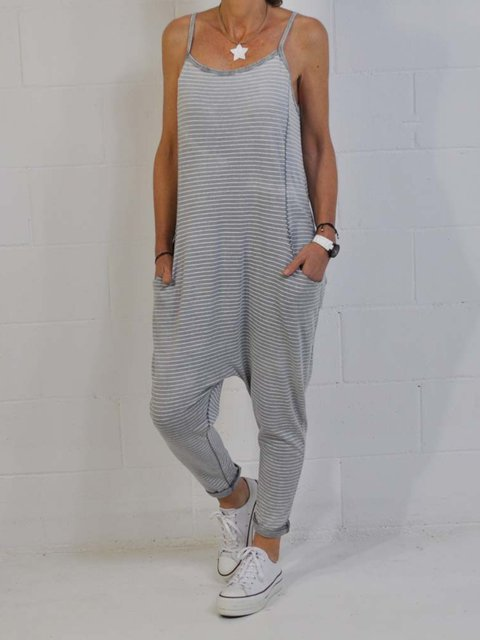 Casual Sleeveless Round Neck Plus Size Jumpsuits