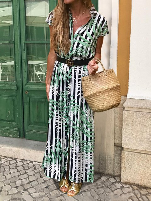 Summer Print Maxi Dress Short Sleeve Shirt Dresses