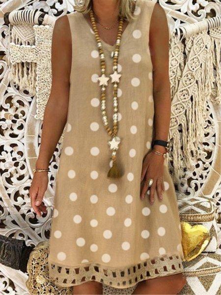 Sleeveless Polka Dots V Neck Linen Dresses