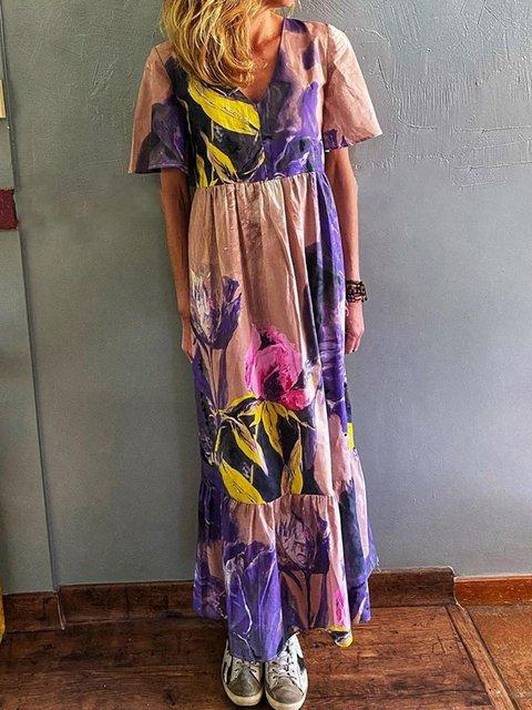 Women Floral V-Neck Vintage Maxi Dresses