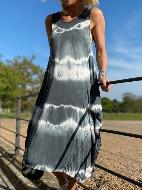 Women Tie-Dye CaftanShift Casual Dresses