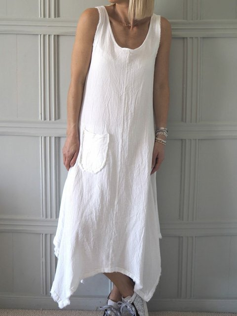 Women Caftan Pocket Asymmetrical Casual Linen Dresses