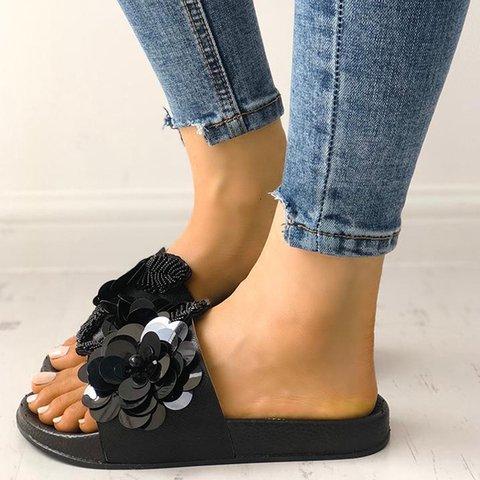 Sequins Flower Slide Sandals Open Toe Women Flat Slippers