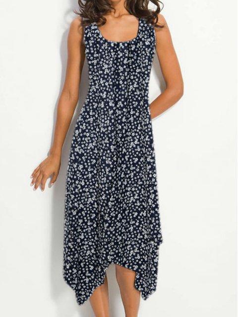 Floral Sleeveless Midi Dress Summer Women Dresses