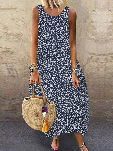 Summer Floral Maxi Dress Sleeveless Women Printed Dresses