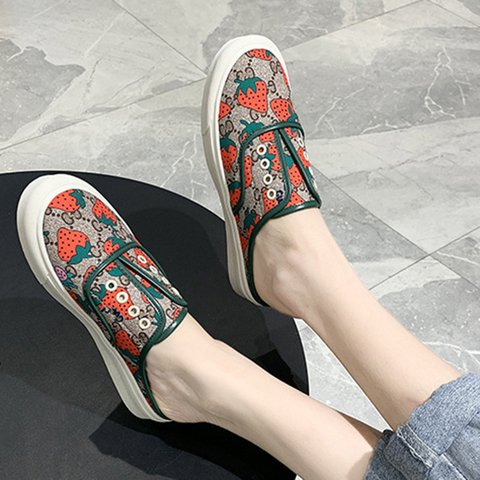 Women Slide Backless Round Toe Spring Printed Casual Pu Loafers