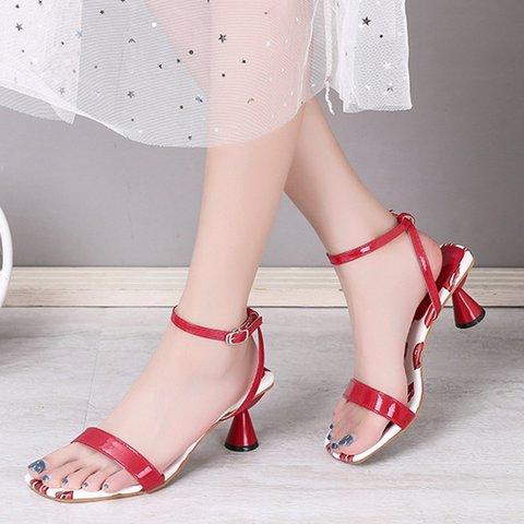 Women Peep Toe Block Heel Daily Pu Sandals