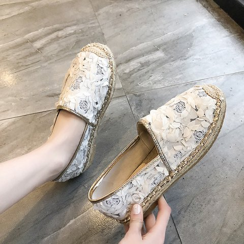 Women Slide Round Toe Holiday All Season Fabric Sequin Loafers
