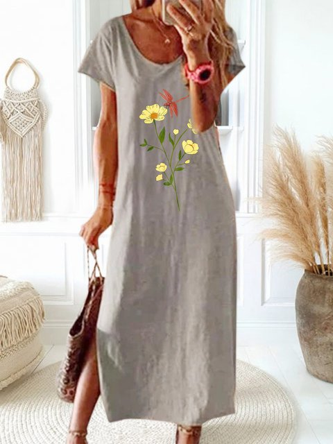 Floral Printed Round Neck Casual Dress
