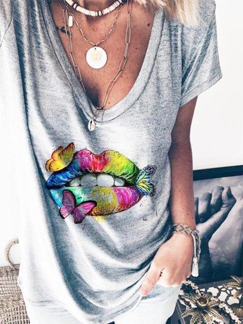 Gray Short Sleeve Cotton-Blend Shirts & Tops
