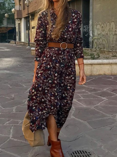 Floral Shirt Dress Printed Maxi Dresses Long Sleeve