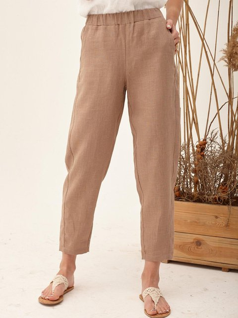 Khaki High Waisted Linen Cropped Pants
