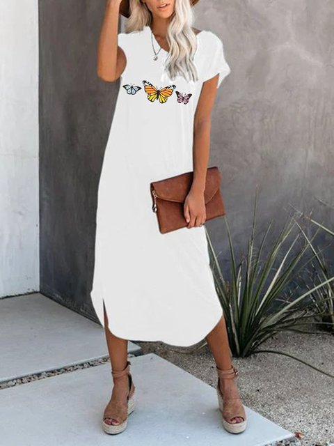 Butterfly Crew Neck White Women Dresses Casual Dresses