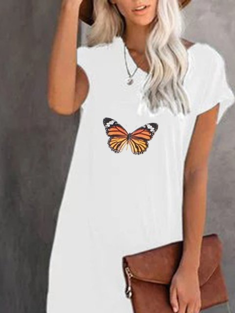 Butterfly Crew Neck White Women Dresses Cotton-Blend Dresses