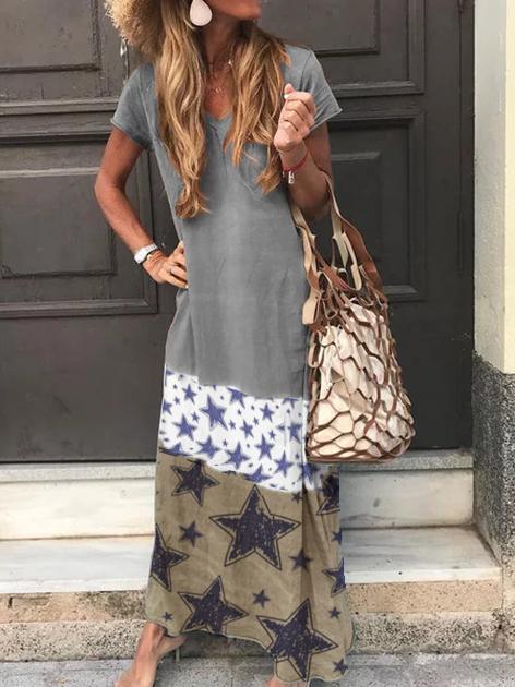 Gray Short Sleeve Star Shift Knitted Dresses