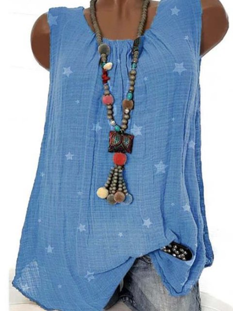 Blue Casual Round Neck Sleeveless Tops