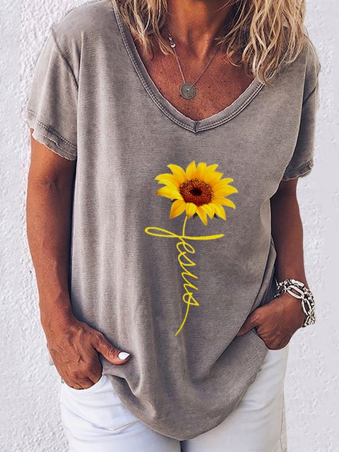 Casual Sunflower Short Sleeve V Neck T-Shirts & Tops